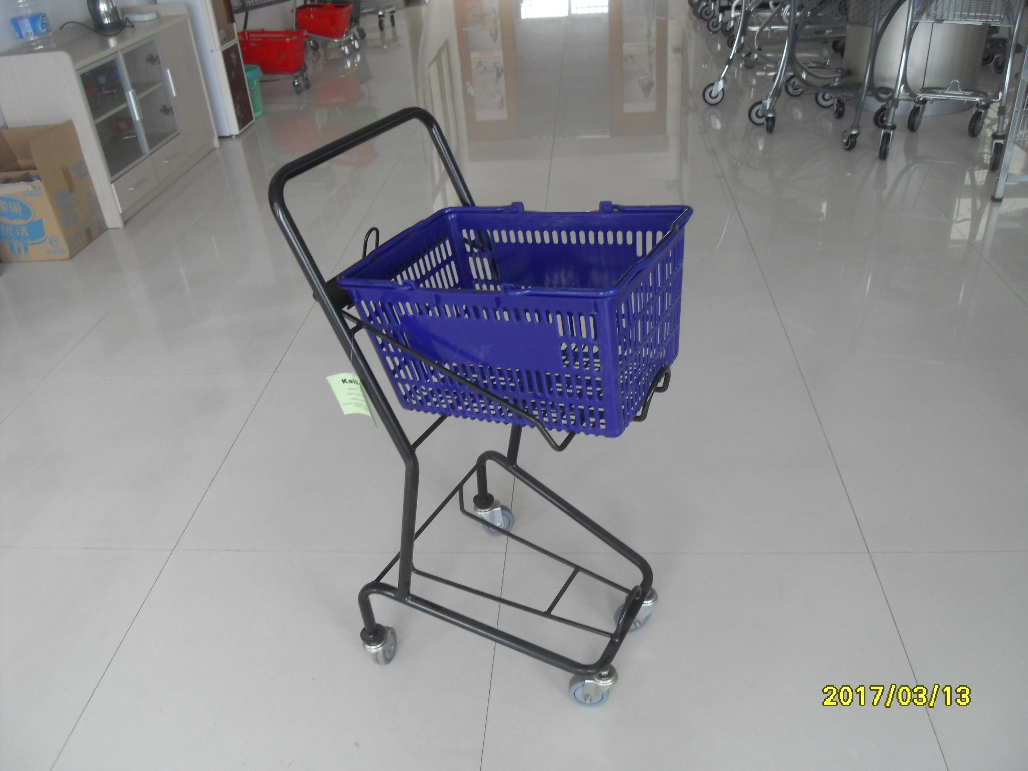 Small Shop 4 Wheel Shopping Cart , Logo Shopping Basket With Wheels