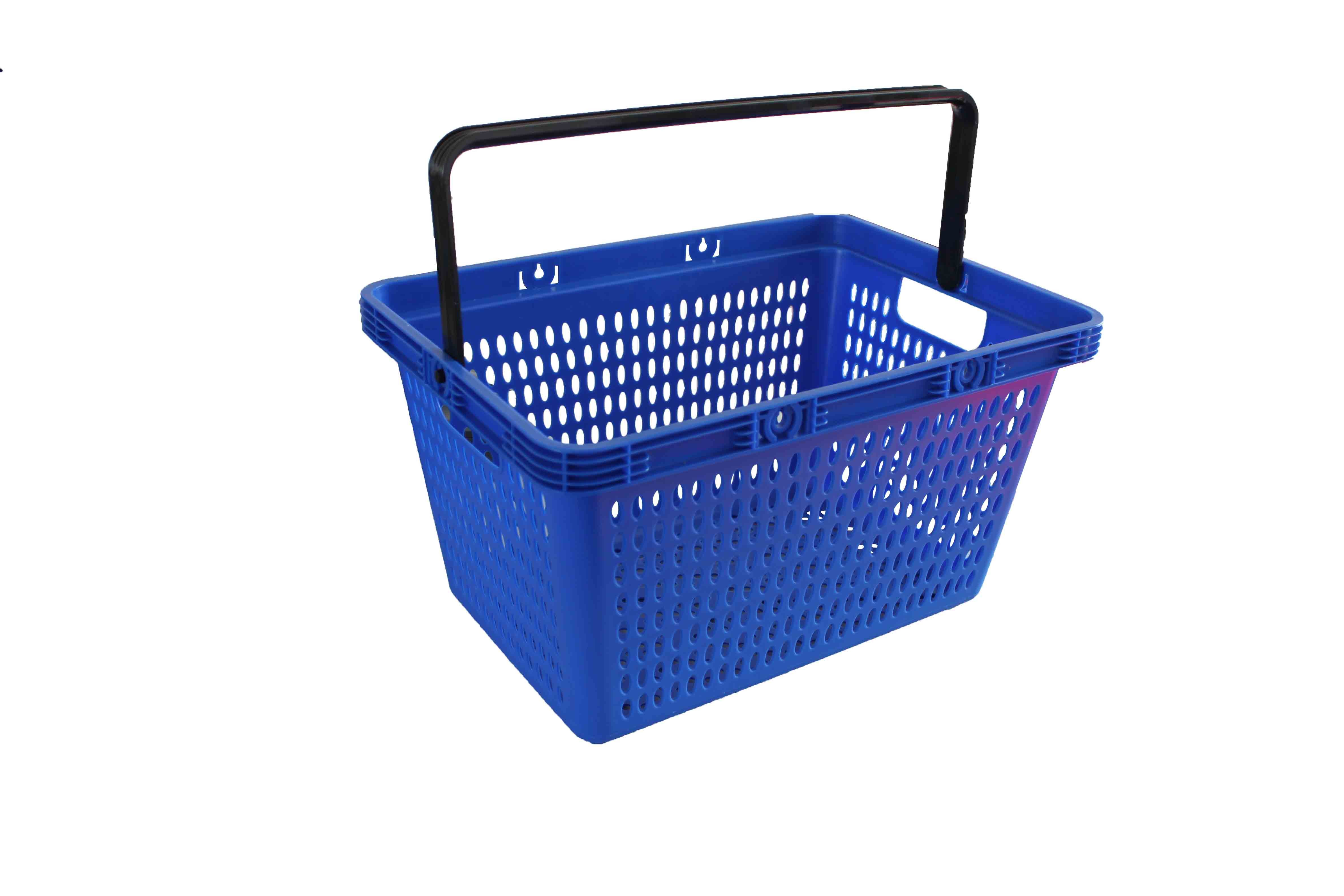28L Blue PP Plastic Shopping Baskets With Handles For Supermarkets / Stores