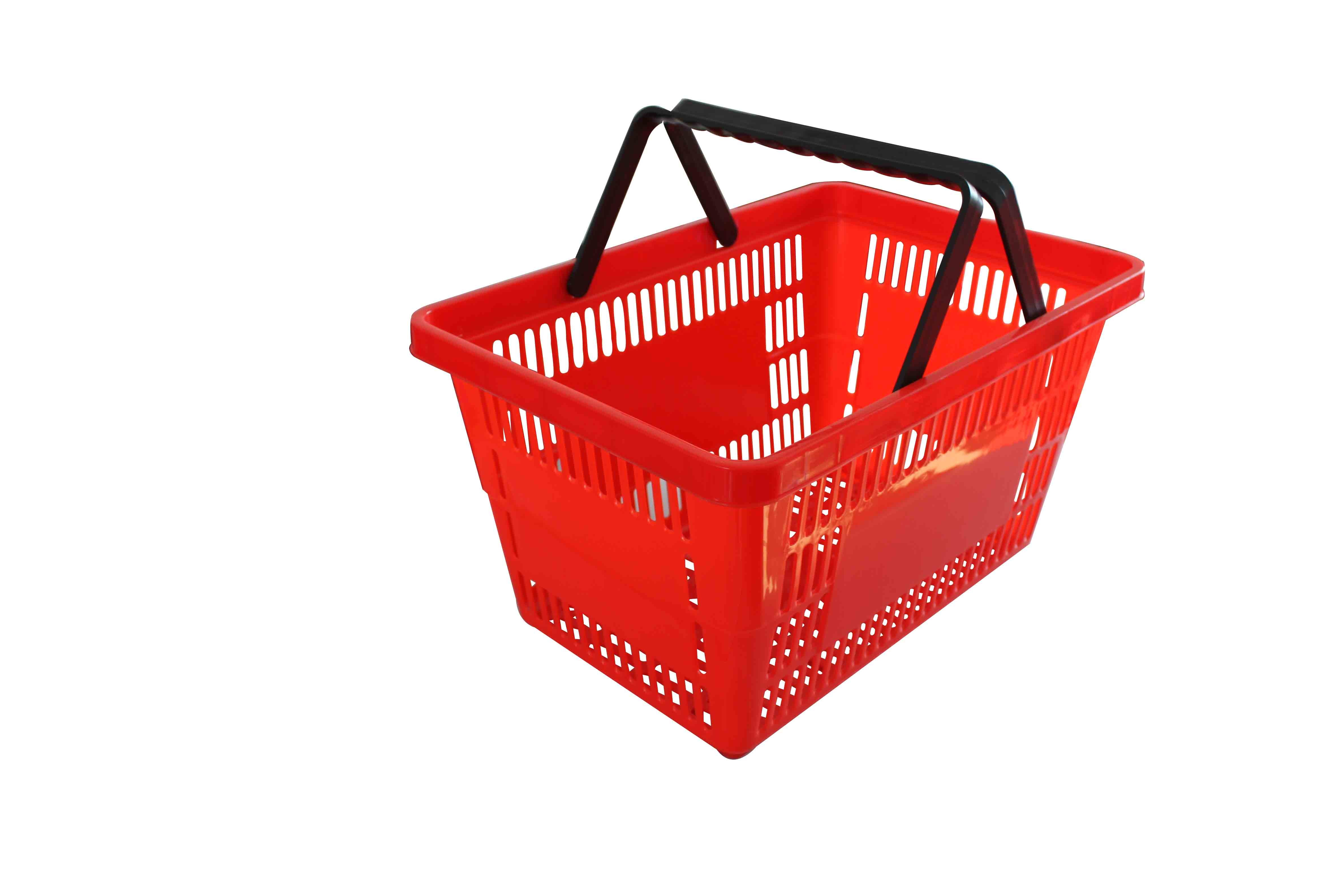 Supermarket Retail Plastic Shopping Basket Red / Hand Held Shopping ...