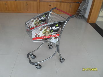 Çin 40L Supermarket Shopping Carts Trolley In Chromed Plated And Advertisement Plate Fabrika