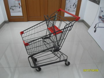 Çin Grey Powder Coating 80L Supermarket Shopping Trolley With 4 Inch PU Casters Fabrika