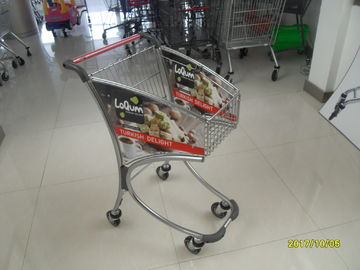 Çin Zinc Chrome Plating Supermarket Shopping Cart , 40KGS Loading Capacity Fabrika