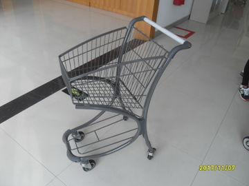 Çin 40L Steel Tube Airport / Supermarket Shopping Trolley With Advertisement Board Fabrika